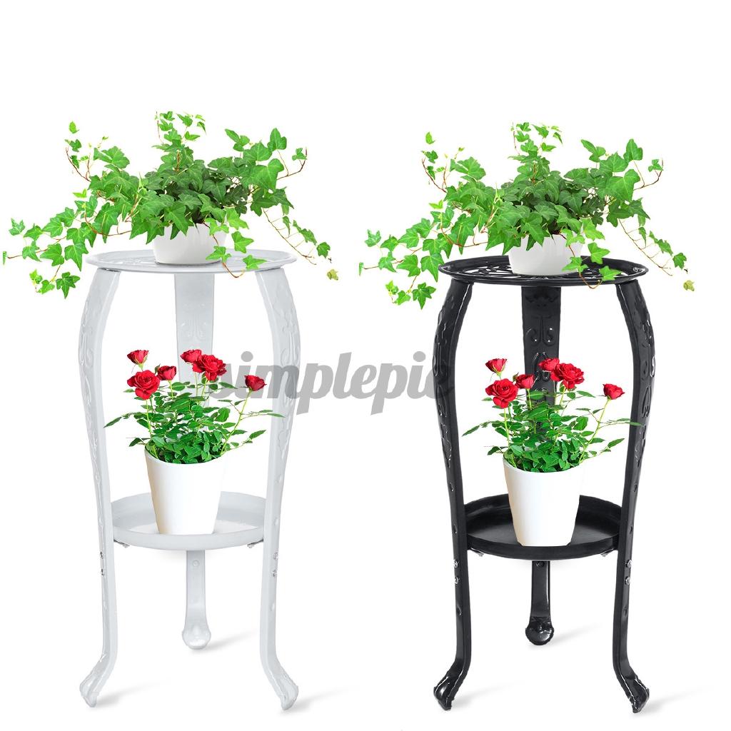 Home Flowerpot Shelf 2 Tier Metal Shelves Flower Pot Plant Stand Display Indoor Outdoor Garden Patio Shopee Philippines