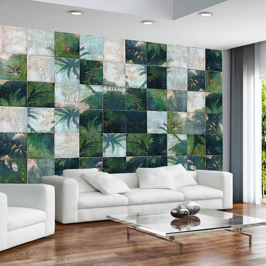 Nordic Personality Green Leaves 3d Living Room Kitchen Wallpaper Mural Wall Decoration Sticker Can Be Customized Shopee Philippines