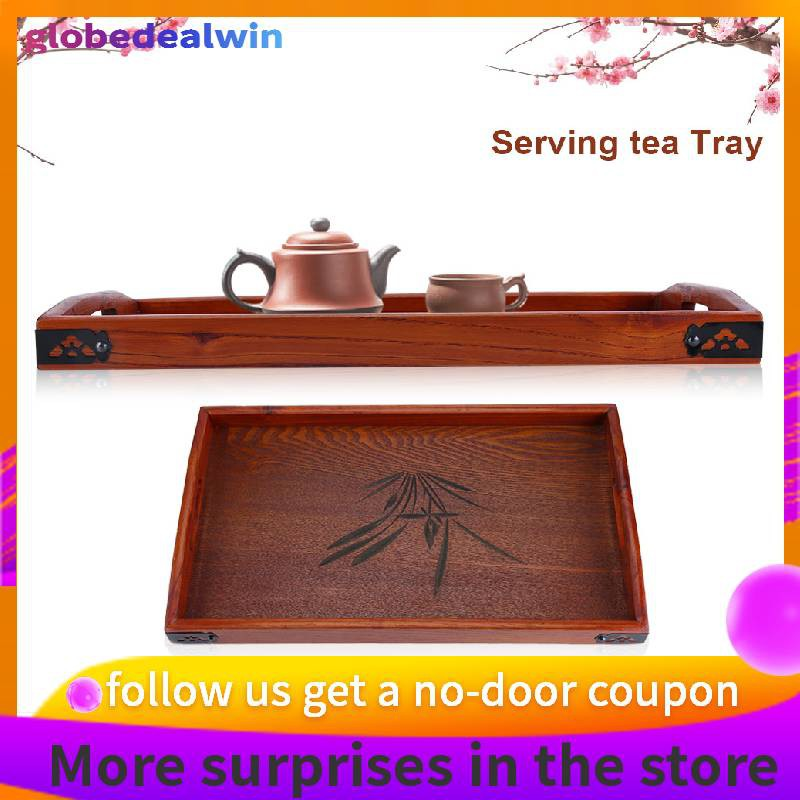 Serving Tea Breakfast Wooden Plain Serving Tray with Heart Shaped Handles