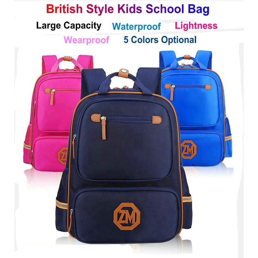76404f2a851c British Vintage Style Kids School Bag Waterproof Backpack Boys Girls  Schoolbag