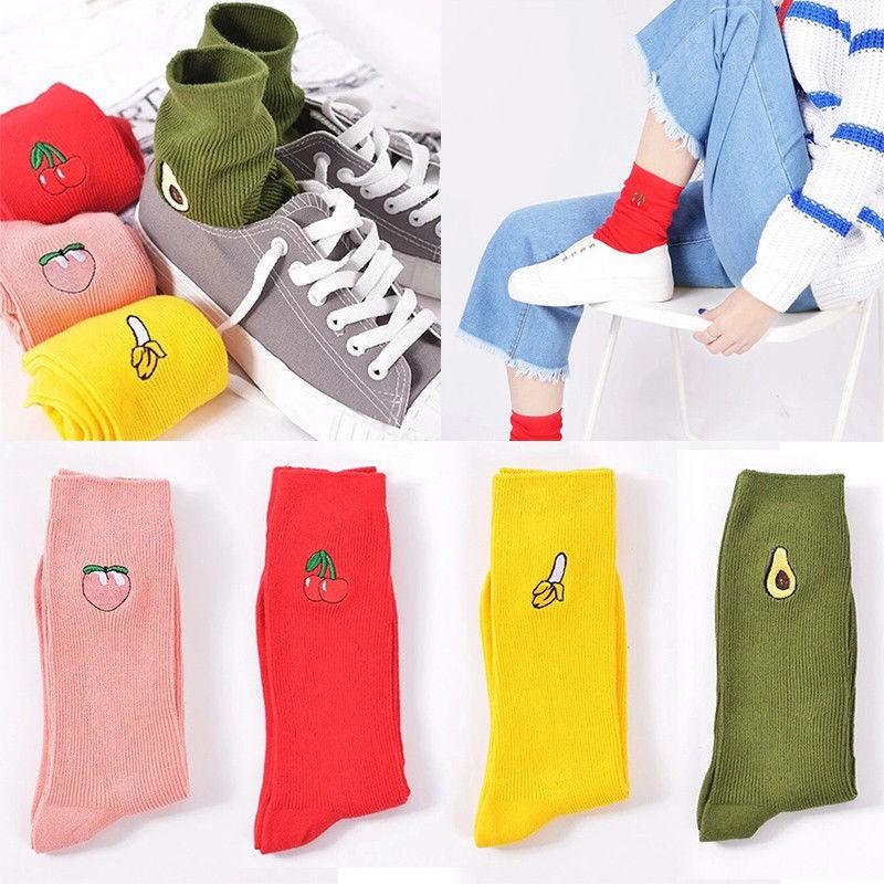 Womens Socks Warm Embroidery Cartoon Retro Casual