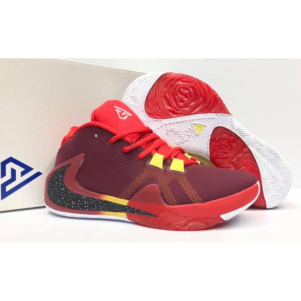 Nike Zoom Freak 1 Maroon/Red/Yellow Men's Sneakers Giannis ...