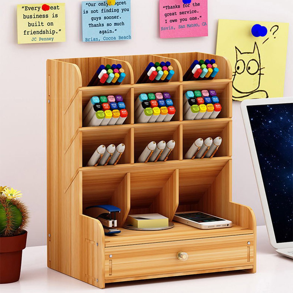 Multi Function Diy Pen Holder Wooden Desk Organizer Desk Stationery Shopee Philippines