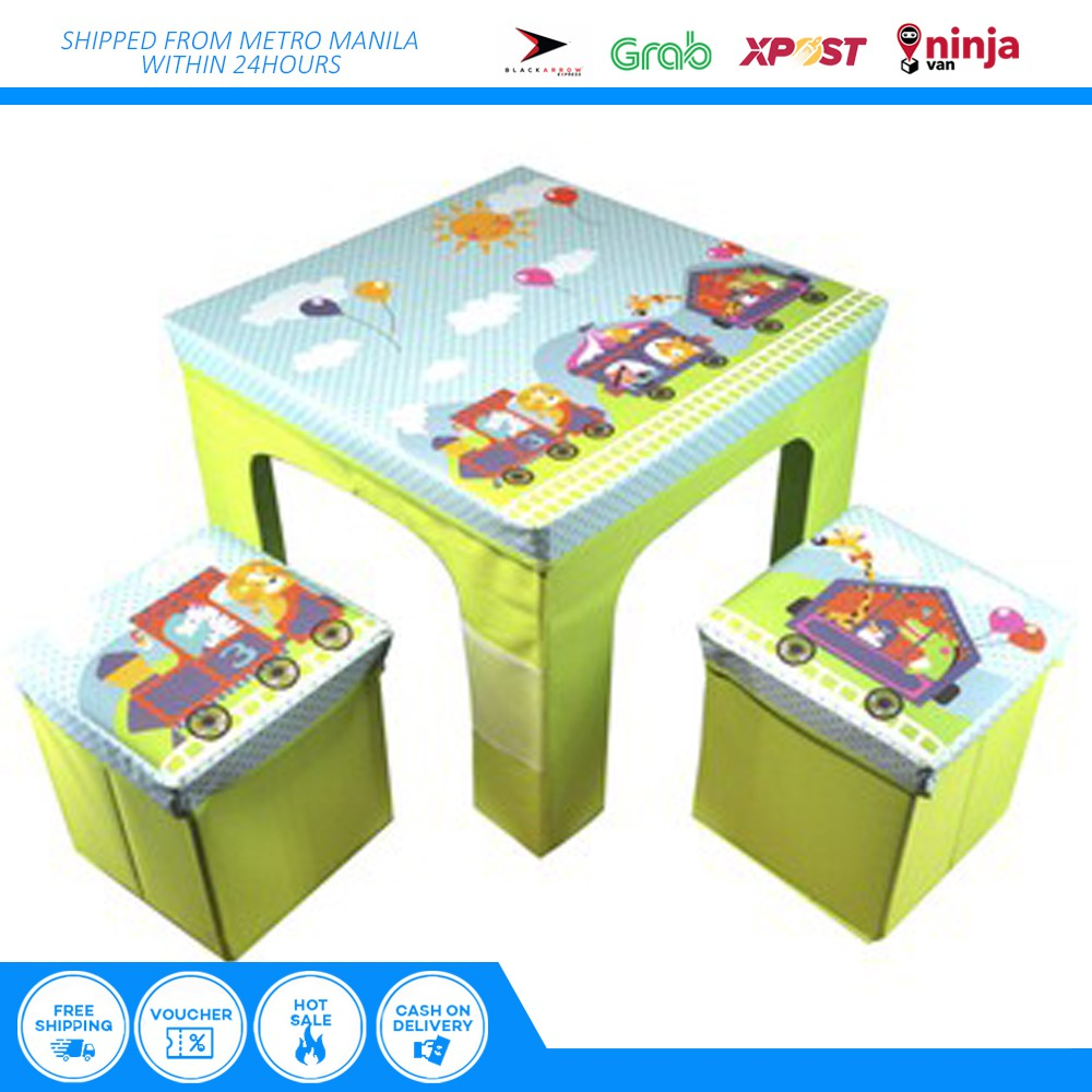 Children Kids Table And Chairs Set with Storage