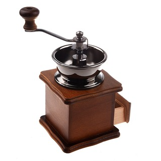 Manual coffee grinder Wood / metal hand mill Spice mill ...