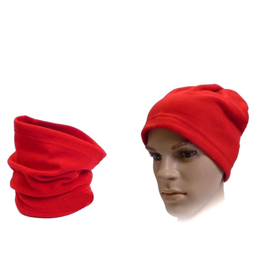 Men Women Warm Polar Fleece Dual Use Beanie Hat Cap Neck Scarf Face Mask Winter