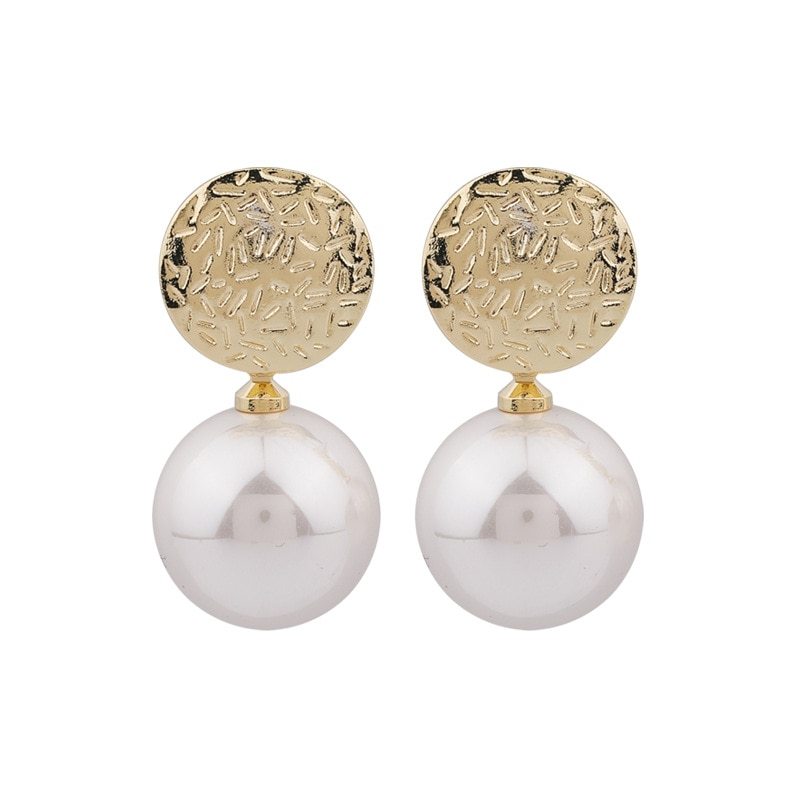 2020 Korean New Temperament Metal Champagne Pearl Earrings Fashion Simple Versatile Earrings Female Shopee Philippines