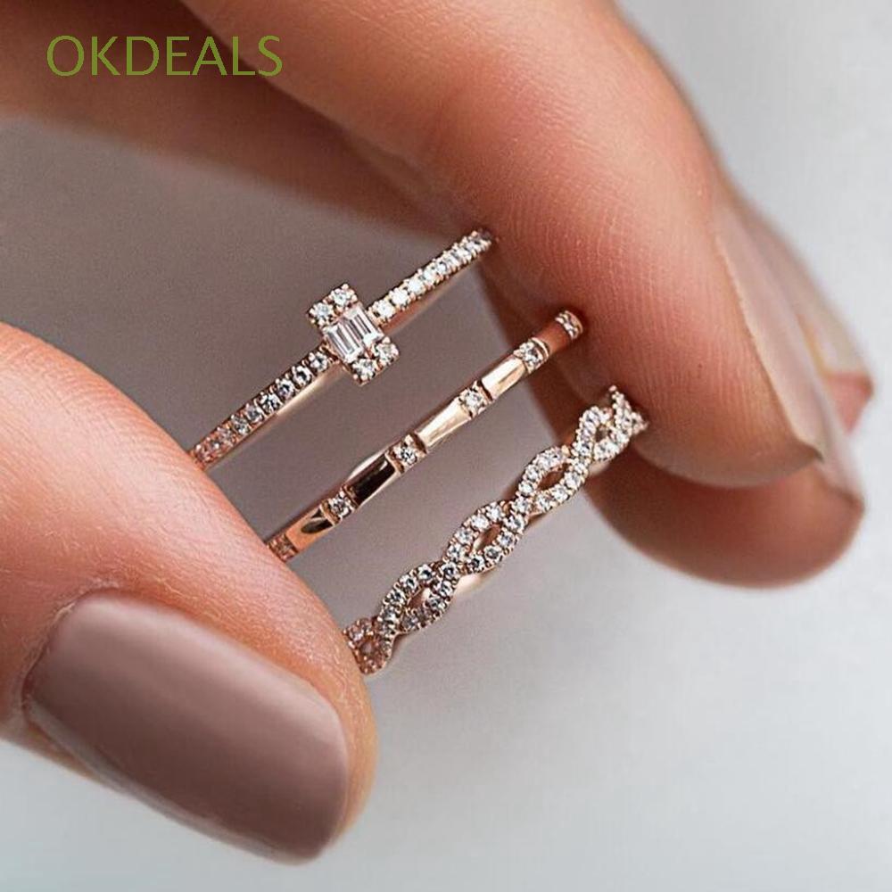 ed306d91442043 3Pcs/Set Jewelry Engagement Gifts Boho Style Rings Set | Shopee Philippines