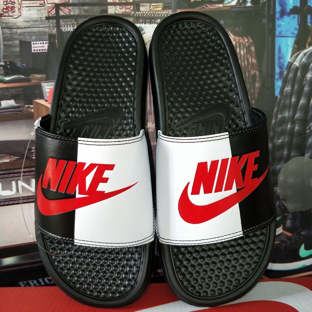 cheap for sale for whole family uk store Nike Mens Benassi JDI Slide Sandal black white red original ...