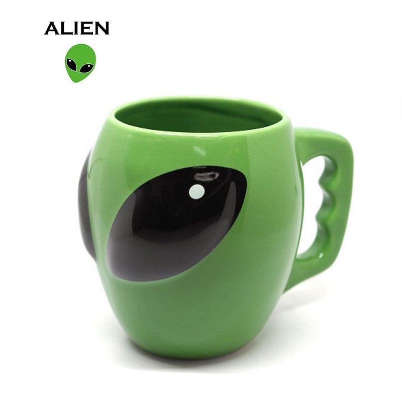Mug Alien Cartoon Green Coffee Cup