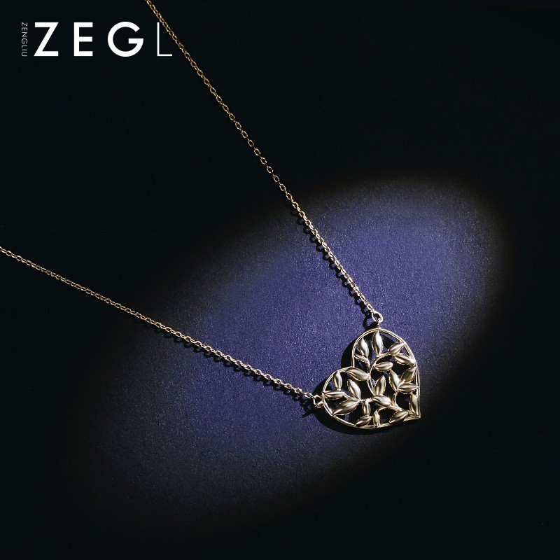 f3cf1e7c4329b ZEGL love heart-shaped necklace chic clavicle chain female simple generous  pendant on the Korean st