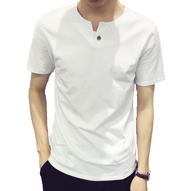 Big Sales Plain Cotton Korean Trendy Tee Men's T shirt