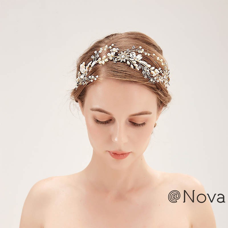 f4141c0b71f ❤Nova Bridal Colorful Flower Cream Braided Headband Bride Hairband Metal  Leaf Handmade Hai