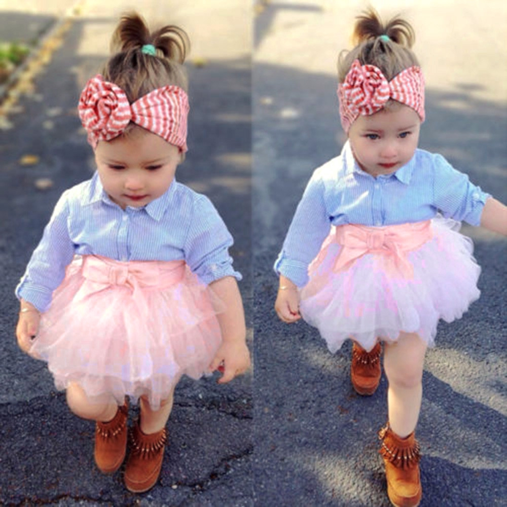 Toddler Baby Girls Infant Long Sleeve Tops+Tutu Dress Skirt Clothes Outfits Set