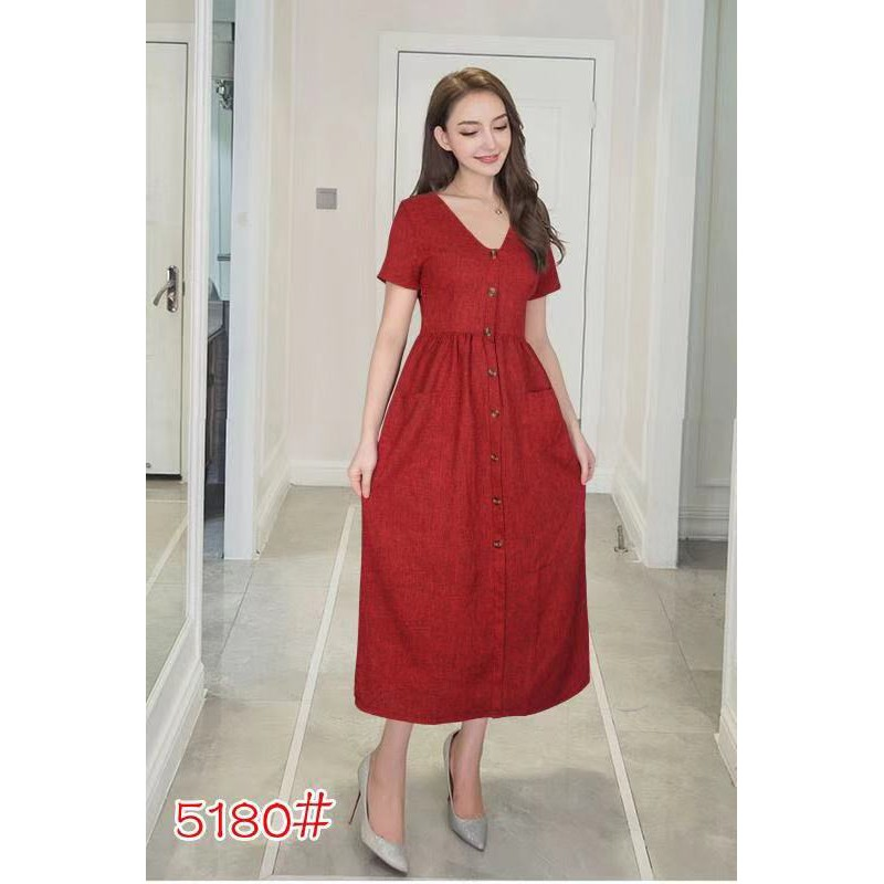 3480aa7cb5 Long Dress Button Down Short Sleeves Korean Fashion #5180