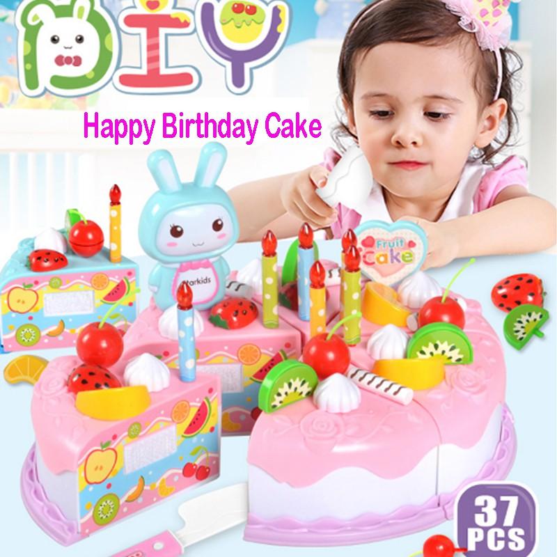 Strange 37Pcs Set Happy Birthday Cake Pretend Play Toy Kids Kitchen Play Personalised Birthday Cards Veneteletsinfo