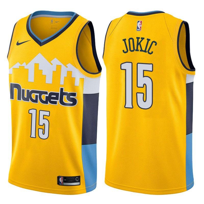new arrival bf370 c1a7a 2018 Original Denver Nuggets Nikola Jokic #15 yellow basketball jersey S-XXL