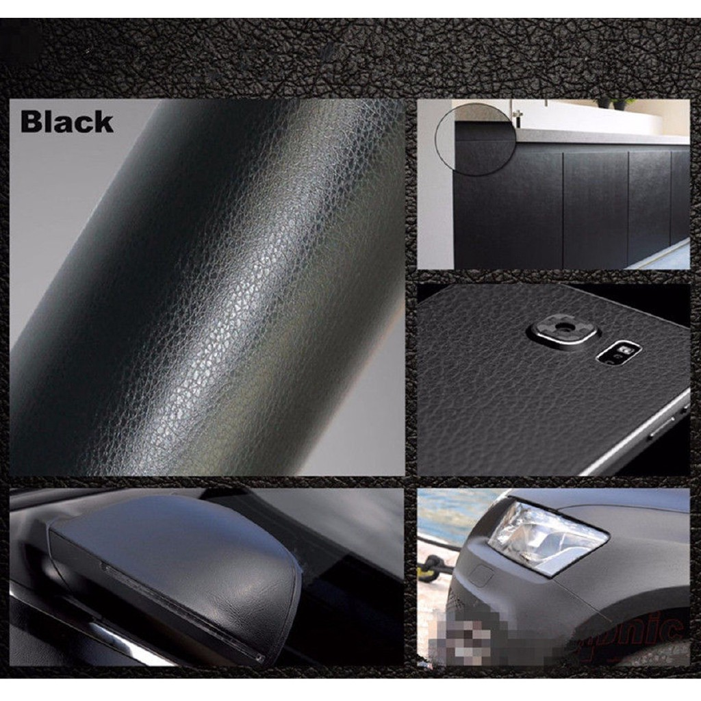 "12""x60"" PU Leather Texture Vinyl Wrap Sticker Car Inner Decal Film Black US"