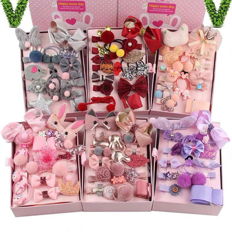 CiCi 18 Pcs/Set Girls Fashion Hair Clips Set Baby Headwear Hair Accessories Box