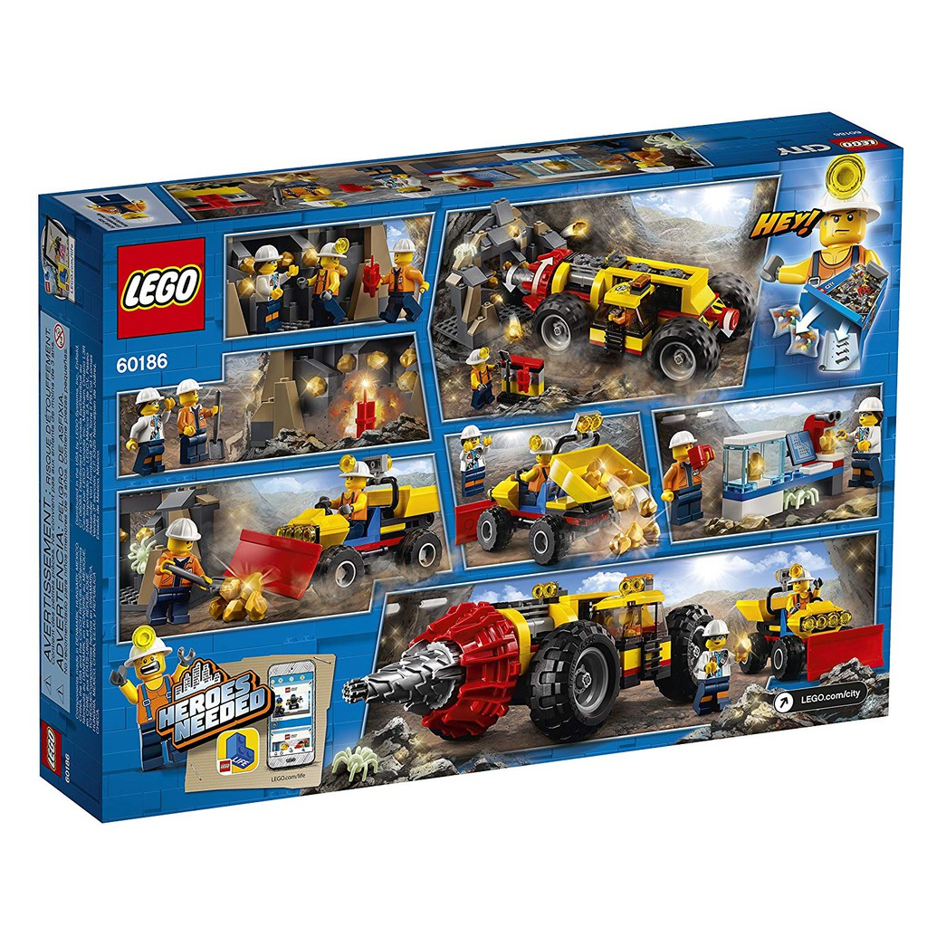60186 LEGO CITY Mining Heavy Driller Set 294 Pieces Age 5+