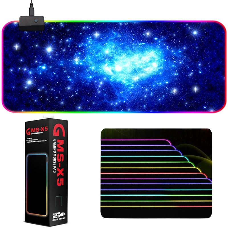 GMS-X5 RGB 14 Modes 7 Colors LED Lighting Gaming Mouse Pad Soft Non-Slip  Starry Sky Mousepad