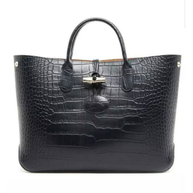 Bnew LONGCHAMP Roseau Croc Embossed Leather Tote Bag (Black)