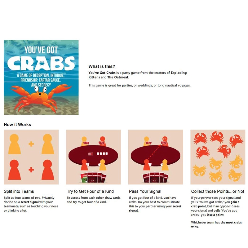 You've Got Crabs Card Game Board Game You Have A Crab Board