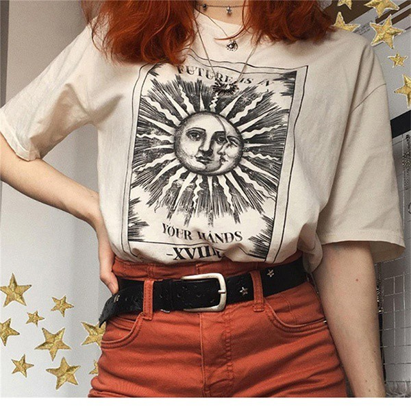 New Harajuku aesthetic Female Tshirt Sun moon Print Short Sleeve Tops & Tees  Fashion Casual T Shirt Women Clothing T-shirts | Shopee Philippines