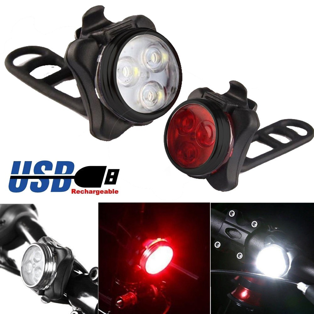 LED Bike Lights USB Rechargeable 4 Modes 5 Bicycle Cycling Front Rear Lamps 02