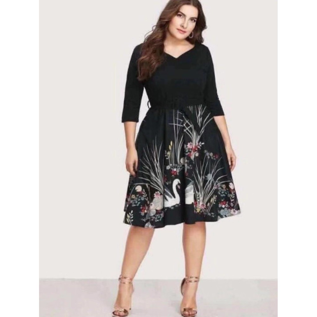 Korean Plus Size Evening Floral Formal Dress Tcc