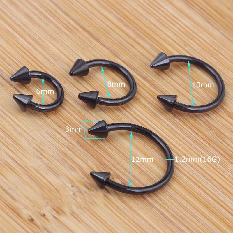 Black 16g Spikes Circular Barbell Horseshoe Lip Nipple Septum Ring