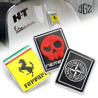Black QIDAN 3D Motorcycle Front Head Fairing Badge Plate P Logo Square Sticker for Vespa Sprint Primavera 125 150 GTS GTV LX LXV S GT 60 125 250 300 Decal Stickers Emblem