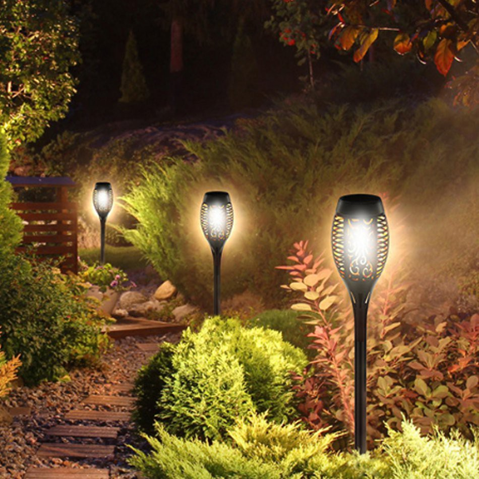 Zl 12led Solar Flame Lamp Outdoor Induction Torch Lamp Garden Courtyard Ground Decorative Landscape Lamp Shopee Philippines