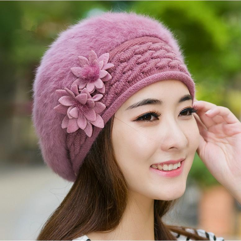 Superuiai New Winter Warm Rabbit Fur Lady Beret Cap  af60501b5e8