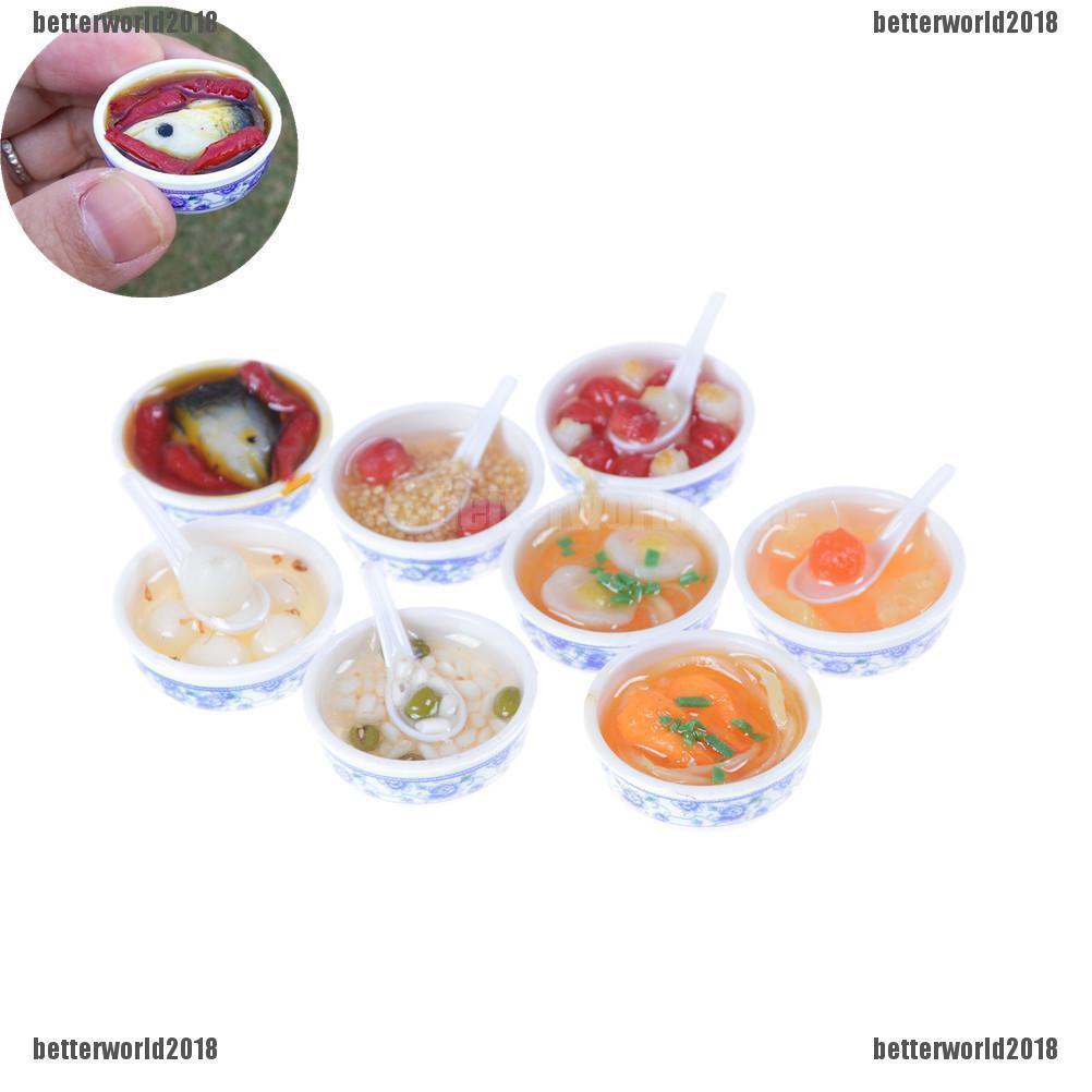 Decor Miniature Food Cake//Egg Pudding//Spoon//Dish set#K Dollhouse Miniature