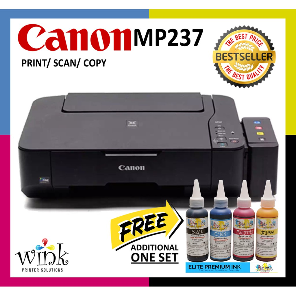 Canon Pixma MP237 Printer w/ CISS and Elite Premium Dye Inks PLUS FREE 1  Set Elite Premium Inks