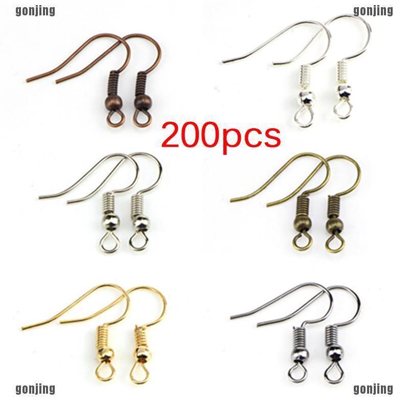 200PCS/Bag Earrings Hook Clasp Ear Hook Wire Bead DIY Jewelry Making  Findings