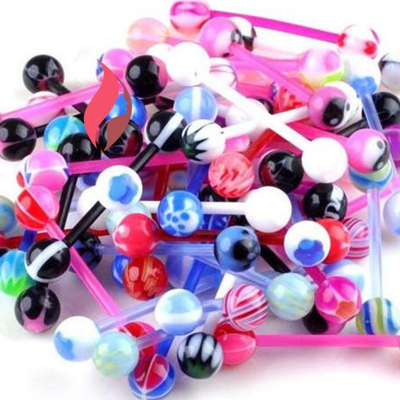 10 x Stainless steel Ball Tongue Navel Nipple Barbell Ring Bars Body PiercinVBU