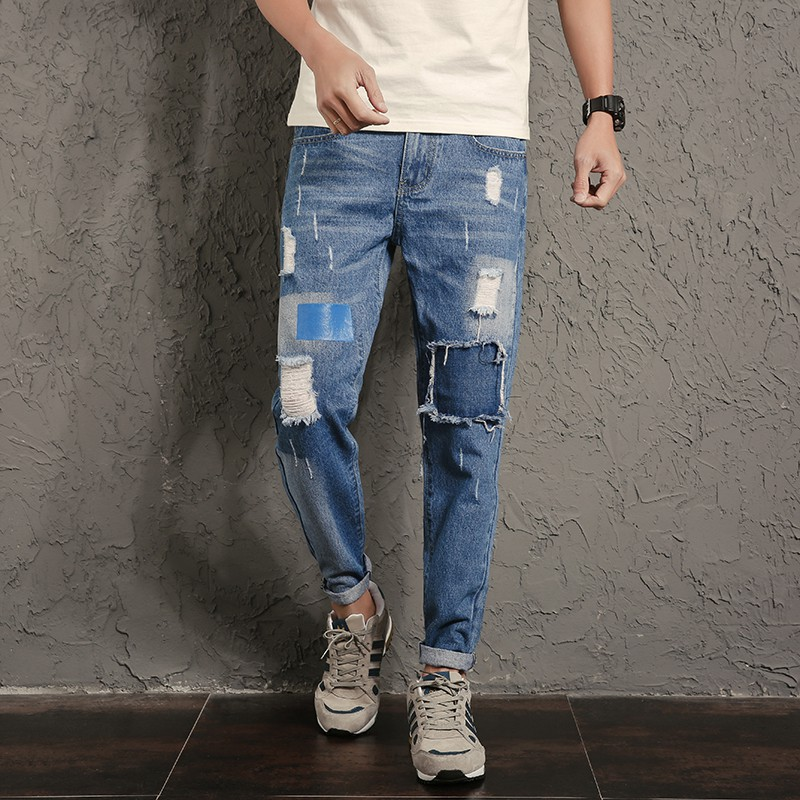 New Designer Hip Hop Jeans Men Pants Knee Patchwork Ripped Denim Jeans