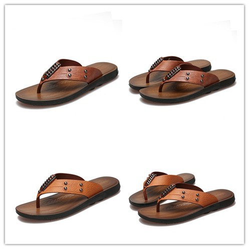 1fbd90a2e7b8 Men Summer Hollow Out Outdoor Fashion Leather Beach Soft Flat Sandal Shoes