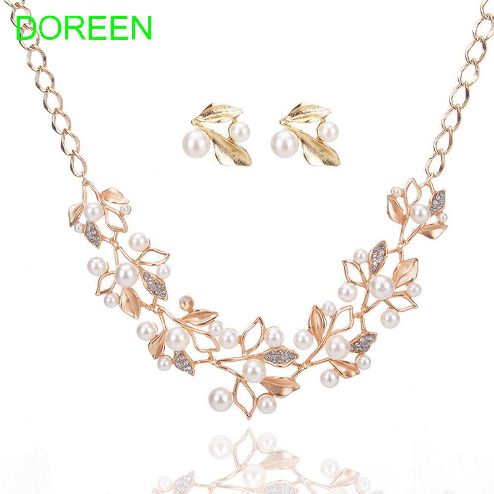 Temperamental Leaves Flower Bridal Jewelry Pearl Necklace Jewelry