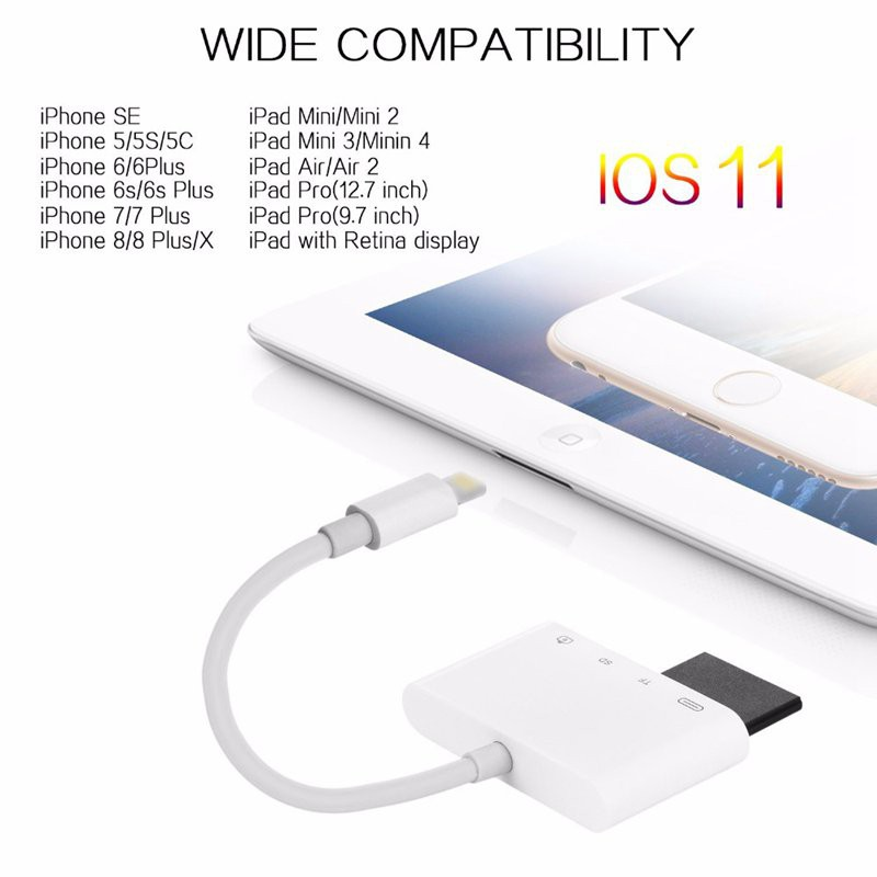 2in1 i-Flash Drive TF Card Reader USB Adapter for iPhone 7//5S//6//6S//iPad2//3//4//air