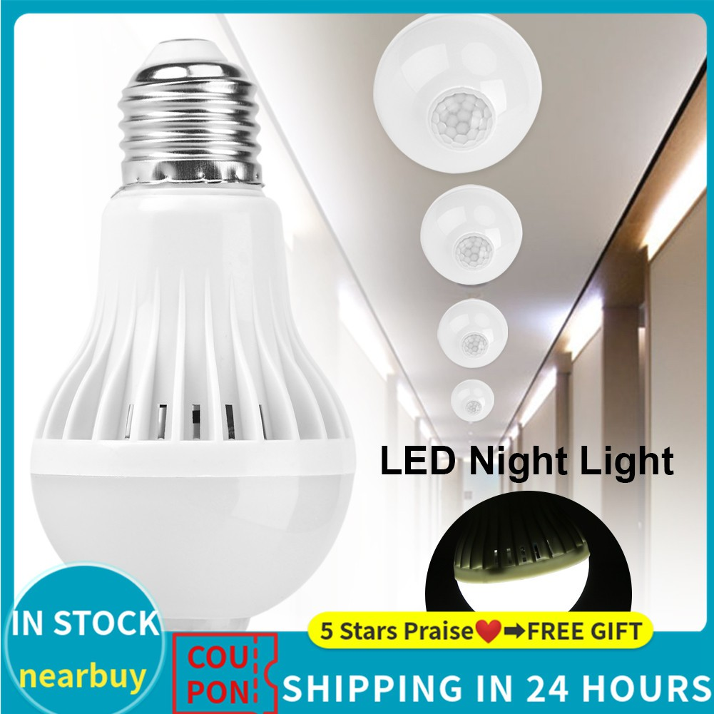 Cod E27 Intelligent Detection Pir Motion Sensor Led Lamp Bulb Shopee Philippines