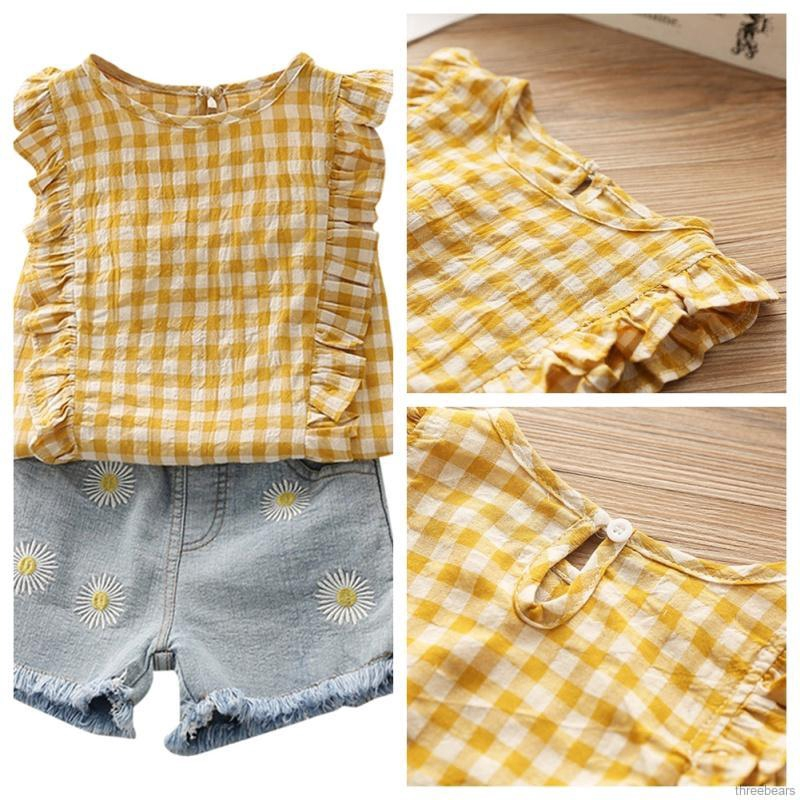 Newborn Baby Girls Clothes Plaid Print Sleeveless Vest Tops and Lace Shorts Briefs Two Piece Set 0-2 T