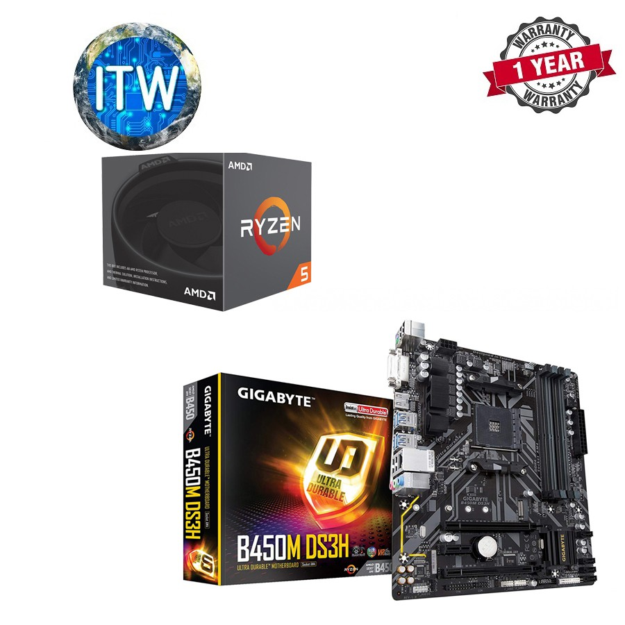 Amd Ryzen 5 2600X with Gigabyte B450M DS3H AM4 Bundle