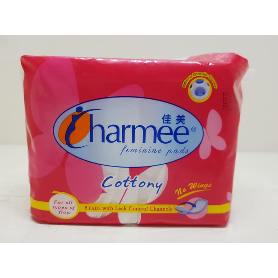 CHARMEE Feminine Pads for All Types of Flow - Cottony without Wings (6  packs x 8 pads per pack)