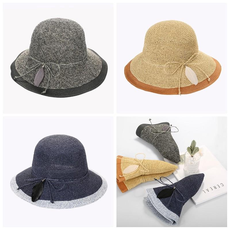 179d52868a2  FG  Vintage Feather Bowknot Foldable Sunscreen Hat