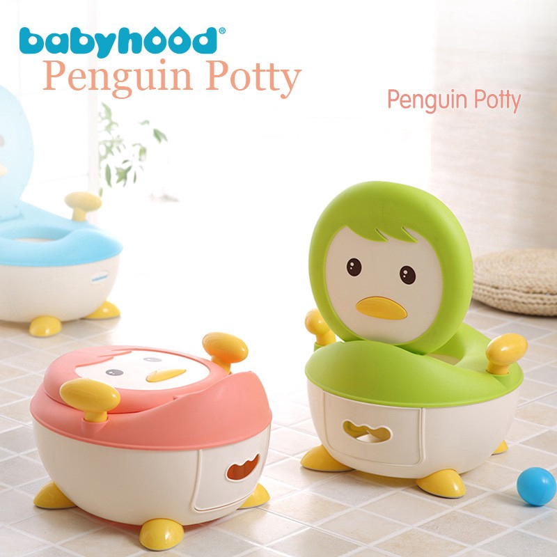 Children Kids Baby Potty Toilet Training Seat Trainer Blue Penguin Portable