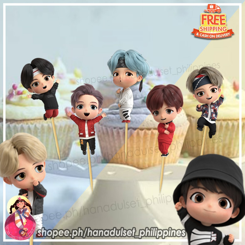 7pcs BTS Tinytan Cup Cake Toppers ♥ set MIC Drop version ...