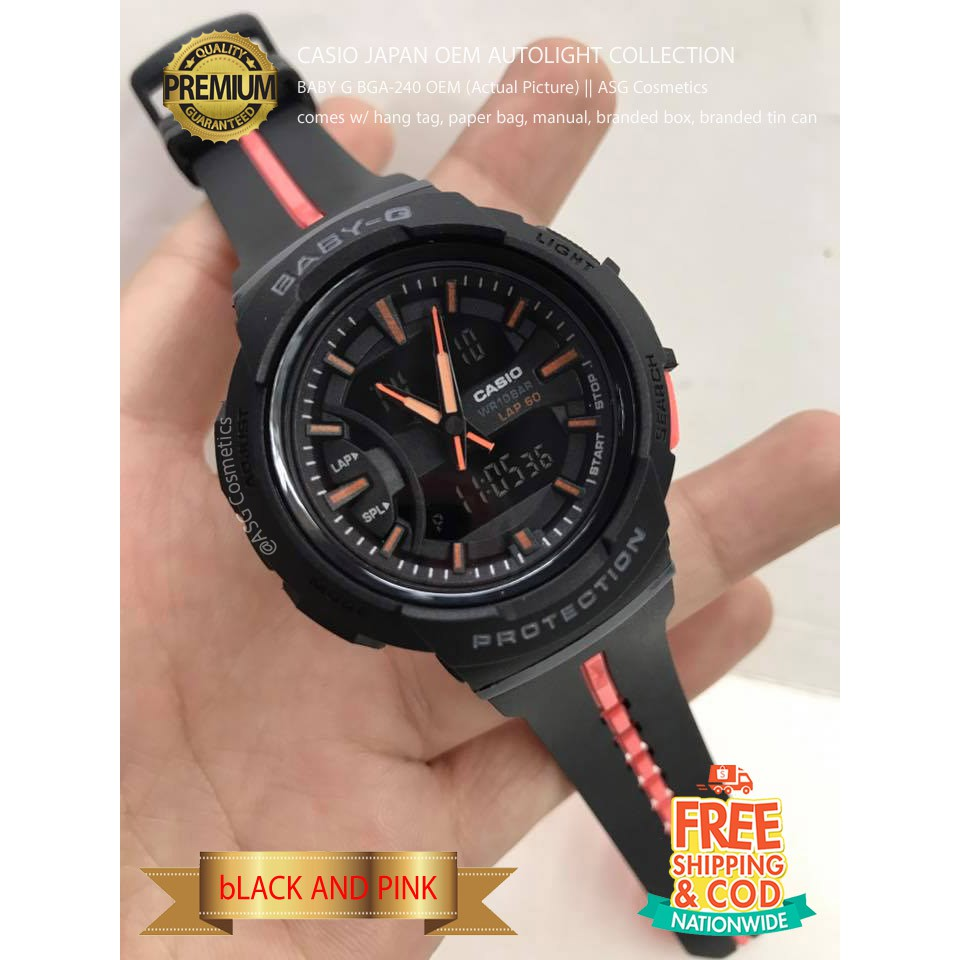 Casio Baby G Oem Autolight Bga240 Black And Pink Shopee Philippines Bga 240l 1a